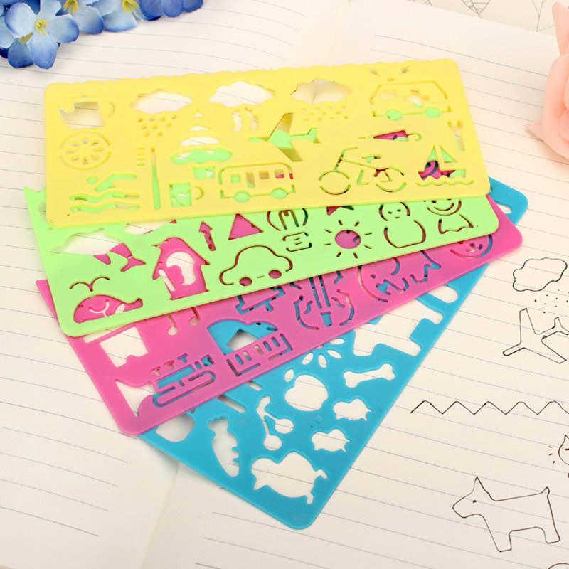 4pcs สุ่มสีแม่แบบแม่แบบการวาดภาพกราฟิก Sketch BOARD ผู้ปกครองเด็กน่ารักสัญลักษณ์กราฟิก Drawing Template stencil ไม้บรรทัด