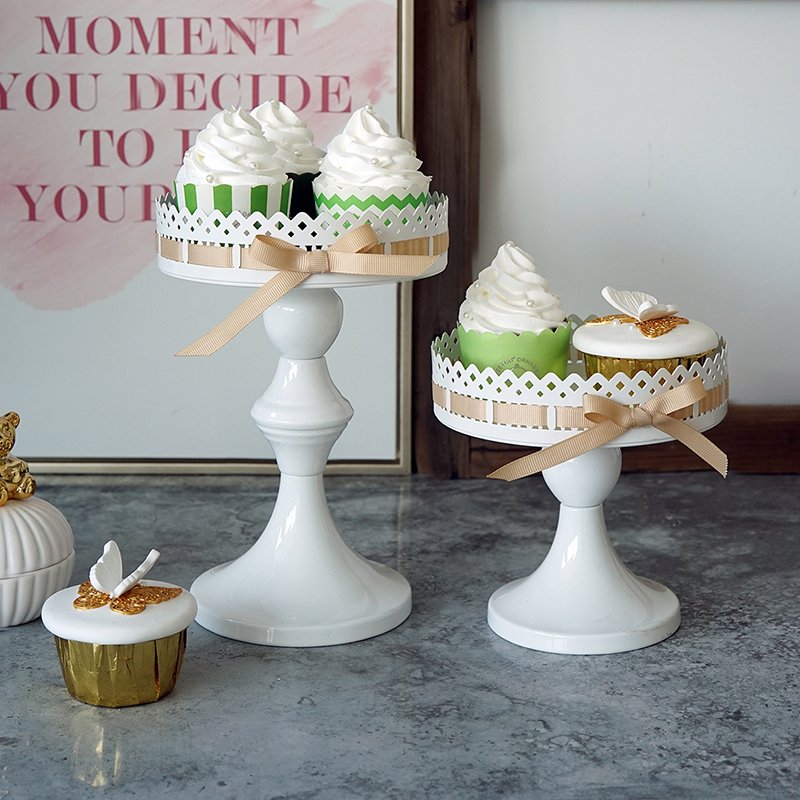 Ribbon cupcake stand fresh style high feet candle holder 15cm cake pops table decorating candy bar party supplier
