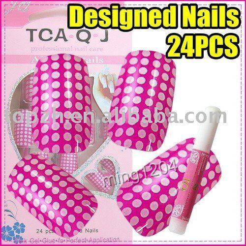 Wholesales Price Fast Shiping Cute Pink Dot 24pcs/set Acrylic False Nail Tips + Glue C221