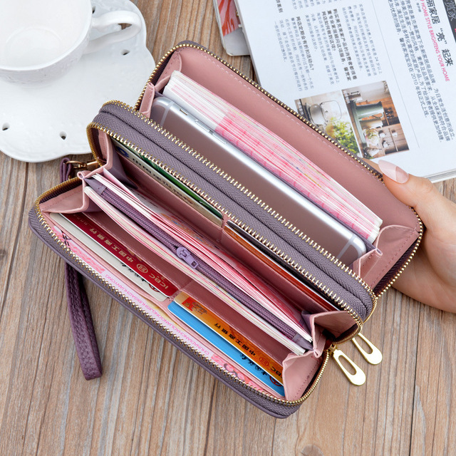 women's wallet portfel damski purse female Double Zip wallet large female leather genuine designer wallets monederos para mujer 5