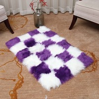 Artificial Skin Rectangle grid Fluffy Chair Sofa Cover Carpet Faux Fur Mat Area Rug for Living Room Bedroom Home Decor Washable
