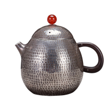 Pure Silver Kung Fu Long Egg-making Teapot Single Pot Household Tea Ceremony Handmade fu tea set