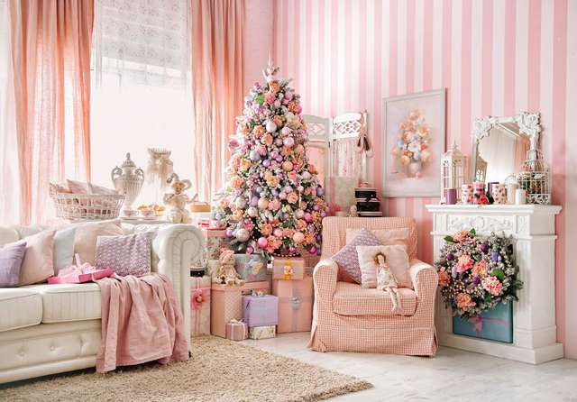 Horizontal Christmas Party Down Photo Background Sweet Pink Sofa Backdrops For Kids Studio Portrait
