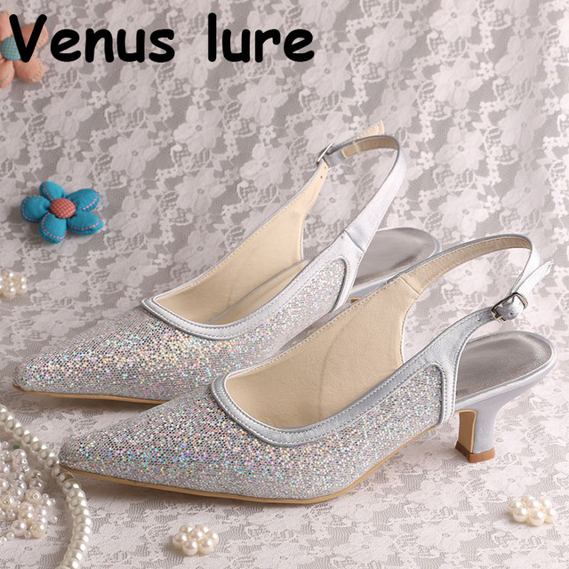 5797721ec95 Glitter Silver Shoes for Women for Wedding Low Heeled Pointed Toe Party  Shoes