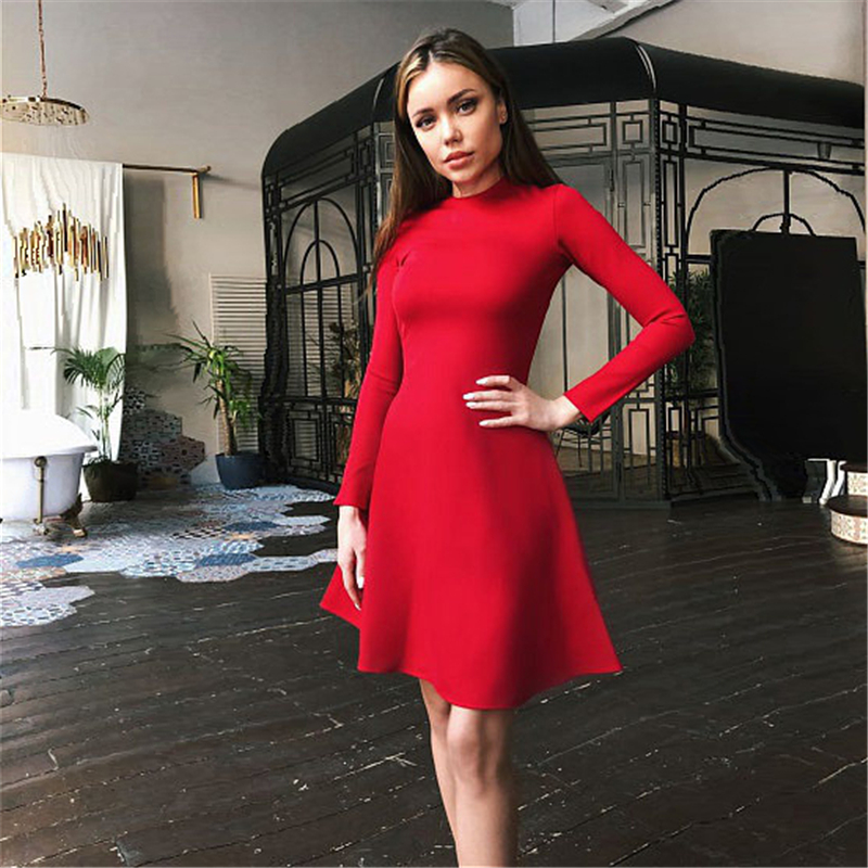Fall Fashion 2018 Women Long Sleeve Bodycon O-neck Casual Dress Winter Vintage Sexy Mini Party Dresses Autumn Clothes Vestidos 2