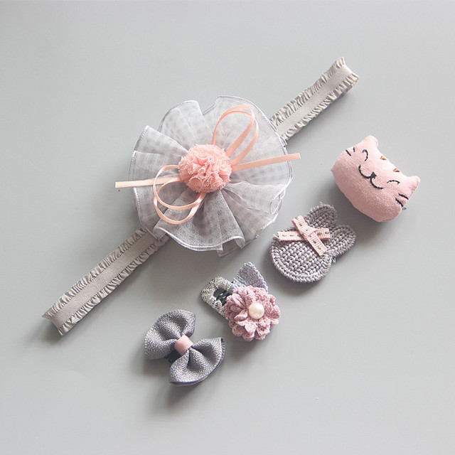 5Pcs/Set Baby Girl Headbands Hair Clips Set Lace Bows Newborn Head Bands Hair Bands For Baby Girls Barrettes Hair Accessories