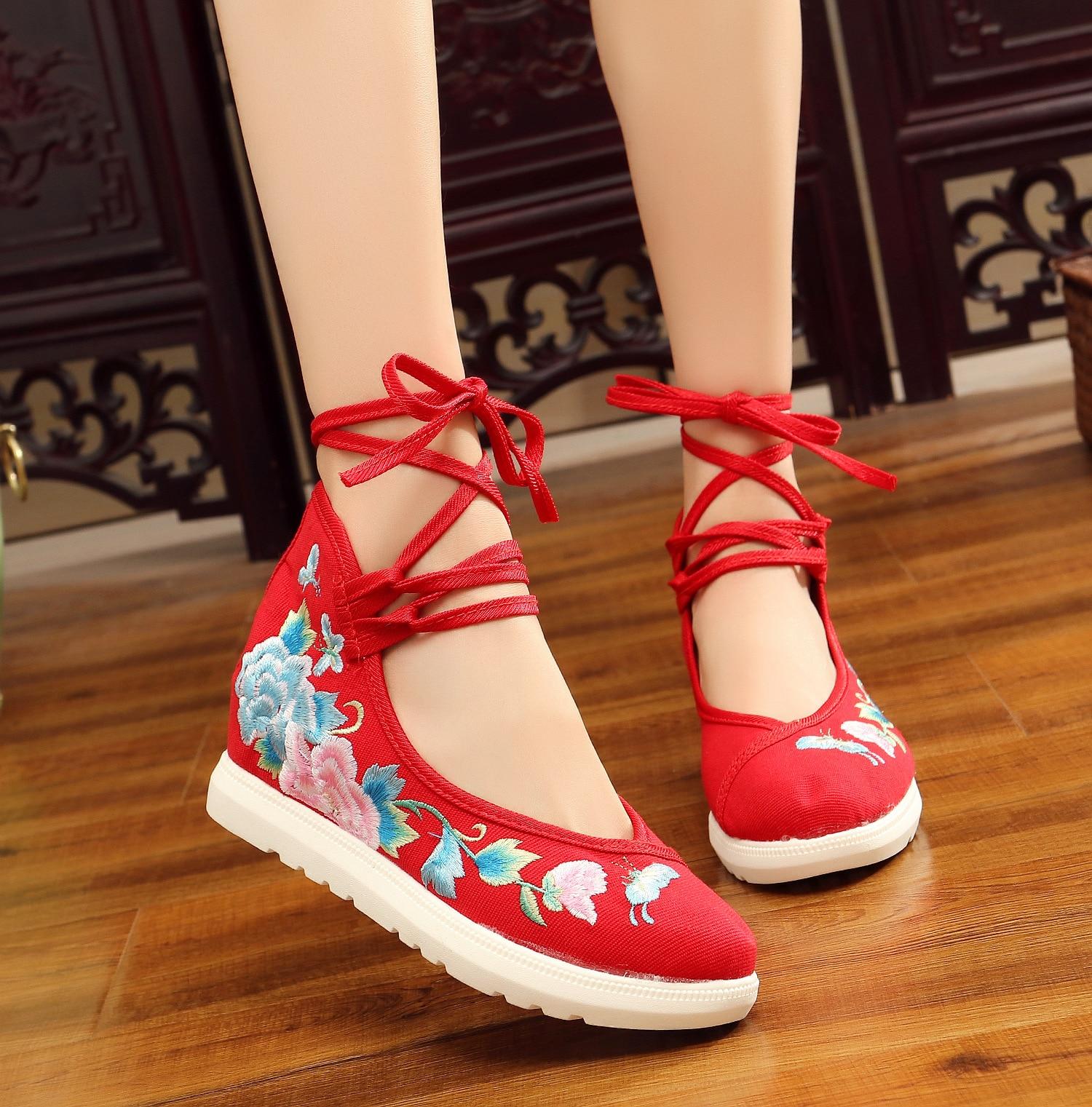 Femme Mary Vieux Chinois Style Jane blanc Danse Pékin De Mode À Chaussures L'intérieur Traditionnel Femmes Broderie Accroître Ascenseur Bleu rouge qa7q4rB