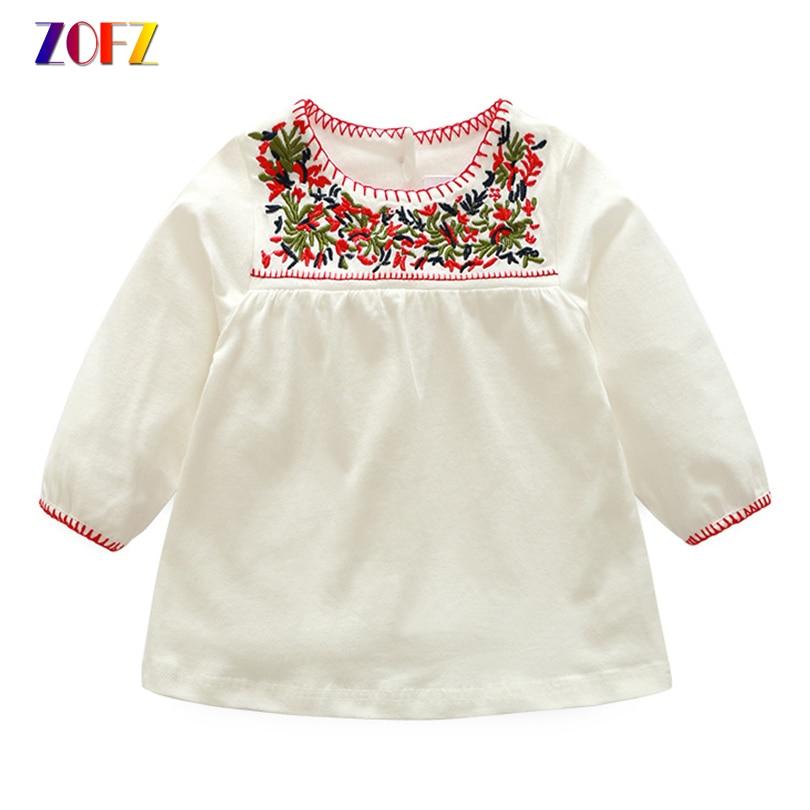 ZOFZ 2018 Baby Dresses Summer O-Neck A Line Dress Three Quarter Embroidery Knee Length Dress For Baby Girls Newborn Clothing