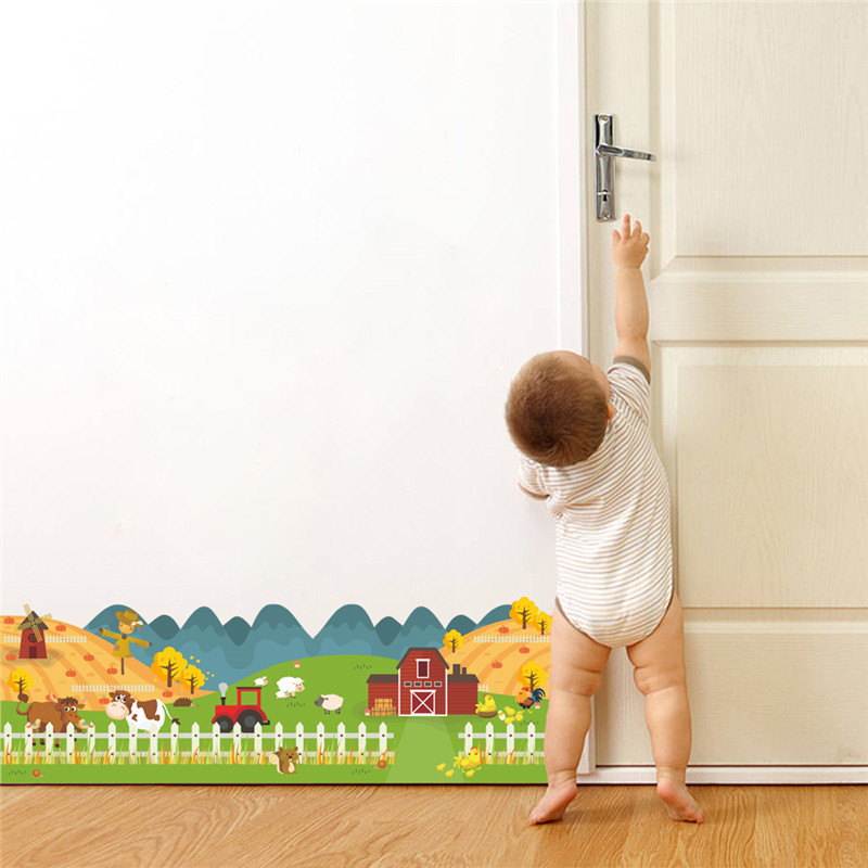 % 3D мультфильм животных околицы стены Стикеры Гостиная Спальня Наклейки на стены home decor детей украшения дома плакат росписи