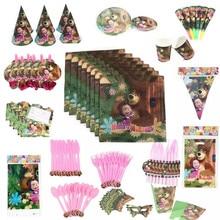 Маша и Медведь, принадлежности для тематической вечеринки, бумажные кружки, тарелки, салфетки, флаг, шляпа, шляпа, соломенная детская одноразовая посуда на день рождения