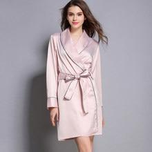 737cedbb13 Elegant Silk Satin Night Robe Full Sleeve Kimono Robe Solid Bathrobe Above  Knee Bath Robe Fashion Roupao Dressing Gown For Women