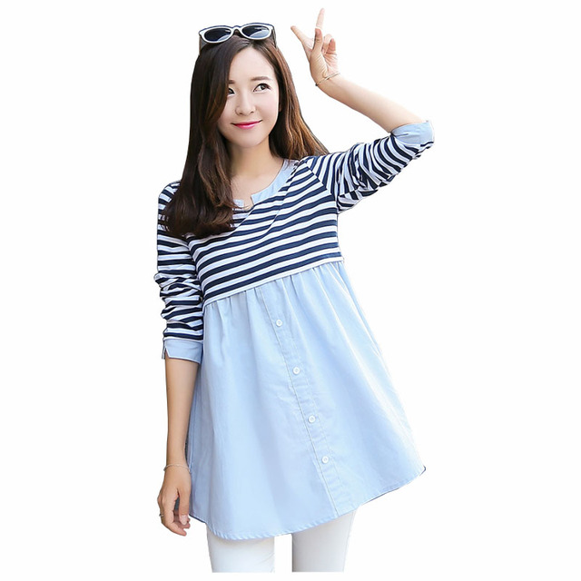 5b381cde2dfe Spring Summer Striped Maternity Dresses Pregnancy Clothes Cotton Long  Sleeve Breastfeeding Nursing Clothing For Pregnant Women