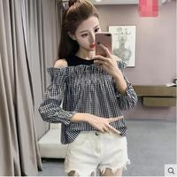 Black And White Plaid New Woman Slash neck Shirt Fake Two Pieces Women's Tunic Loose Chic streetwear Off Shoulder Lady Top