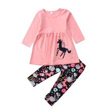 Lovely Toddler Kid Baby Girl Unicorn Tops Long Sleeve Dress Floral Pants Outfits Set Clothes 2019 цена и фото