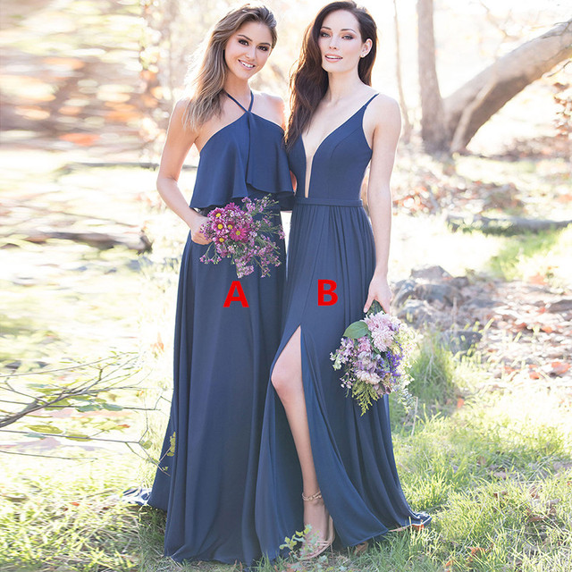 Us 64 6 30 Off Vestido Madrinha Navy Blue Bridesmaid Dresses Floor Length Long Wedding Guest Dress For Wedding Party Robe Demoiselle D Honneur In