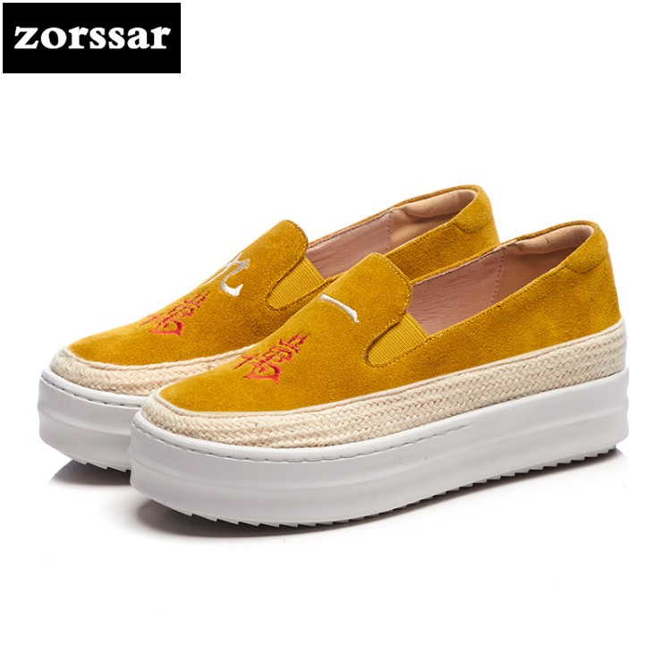 {Zorssar} Brand 2018 Spring New fashion Cow suede Women sneakers Casual Flats Loafers Shoes female platform shoes Big Size 33-42