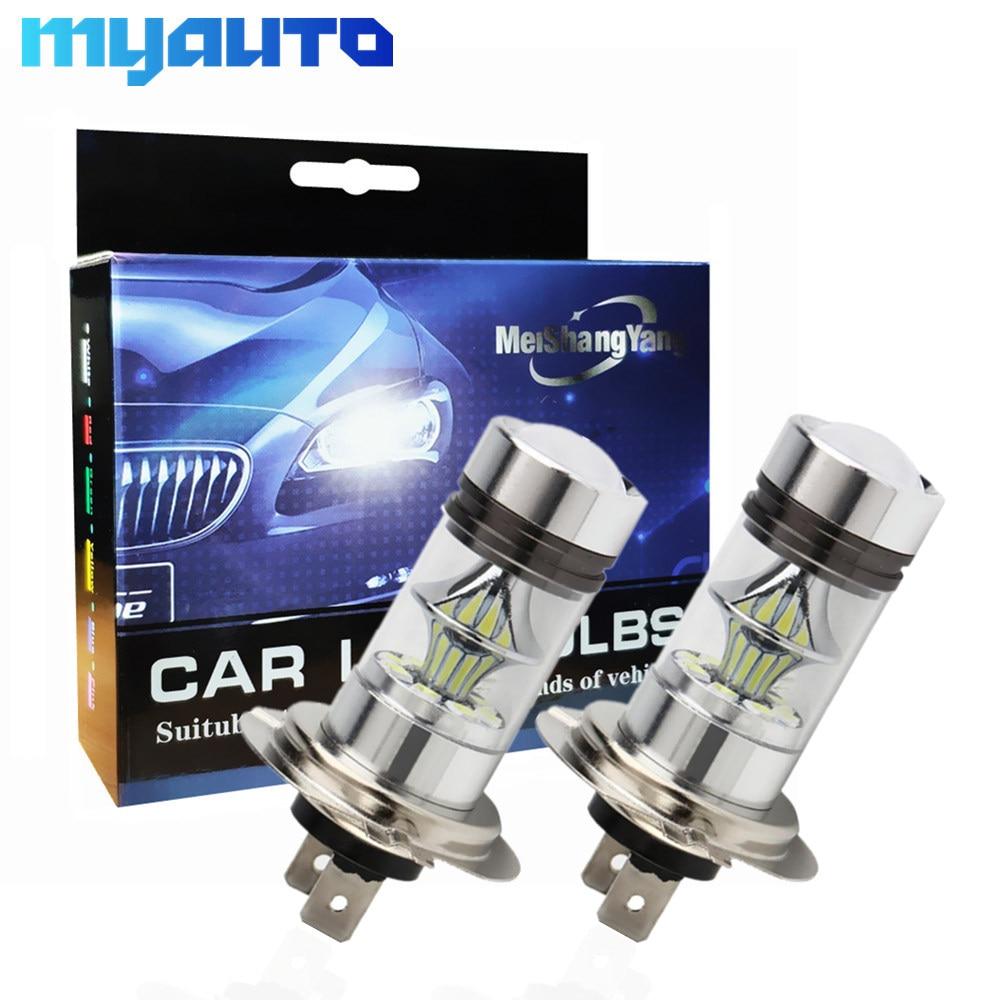 2Pcs 100W Cree Chip LED H4 H7 H8 H11 9005 HB3 9006 HB4 BA15S BAY15D 3157 7443 12V~24V 20SMD Car Fog Lights Running Lights