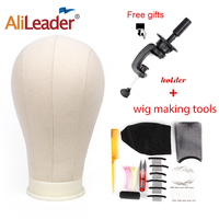 AliLeader Quality And Cheap Human Hair Wigs Making Tools White 21 25 Canvas Block Head Mannequin Head For Wigs Needle And Thread