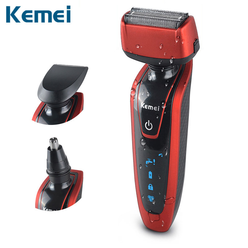 Kemei 3 in 1 Electric Shaver Reciprocating Razor Rechargeable 3 head Blade Shaving Razors for Men hair nose trimmer removal povos pq912j man s electric 3 blade head rotating shaver razor w trimmer black ac 220v