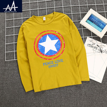 boys t shirt long sleeve kids tshirts fall new 2016 kids clothes boys tops yellow white color print children clothing size 8-12t
