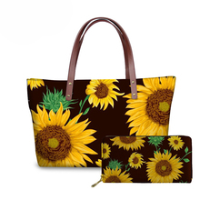 NOISYDESIGNS Ladies Shoulder Bags for Women Sunflowers Printing Handbags&Wallet Females 2pcs/set Top-Handle Travel Bolsa