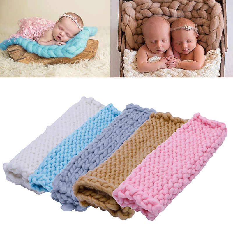 Cesta de lana de ganchillo suave abrigo cálido bebé recién nacido fotografía utilería manta rosa/caqui/azul/blanco/gris