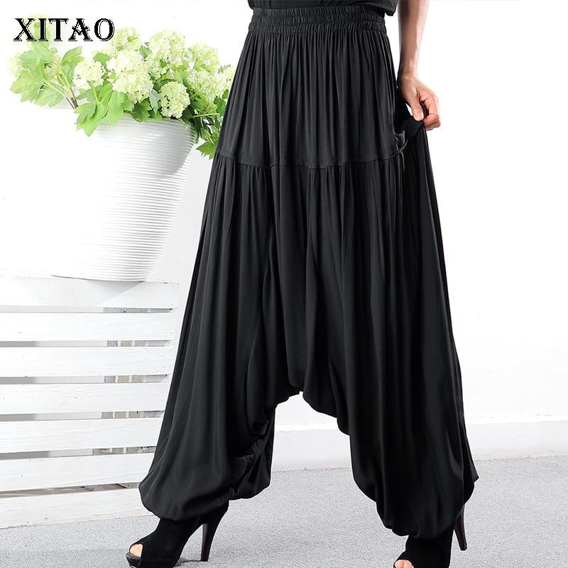 [XITAO] New Women Korea Fashion 2019 Summer   Wide     Leg     Pants   Female Patchwork Pleated Elastic Waisted Full Length   Pants   WBB3572