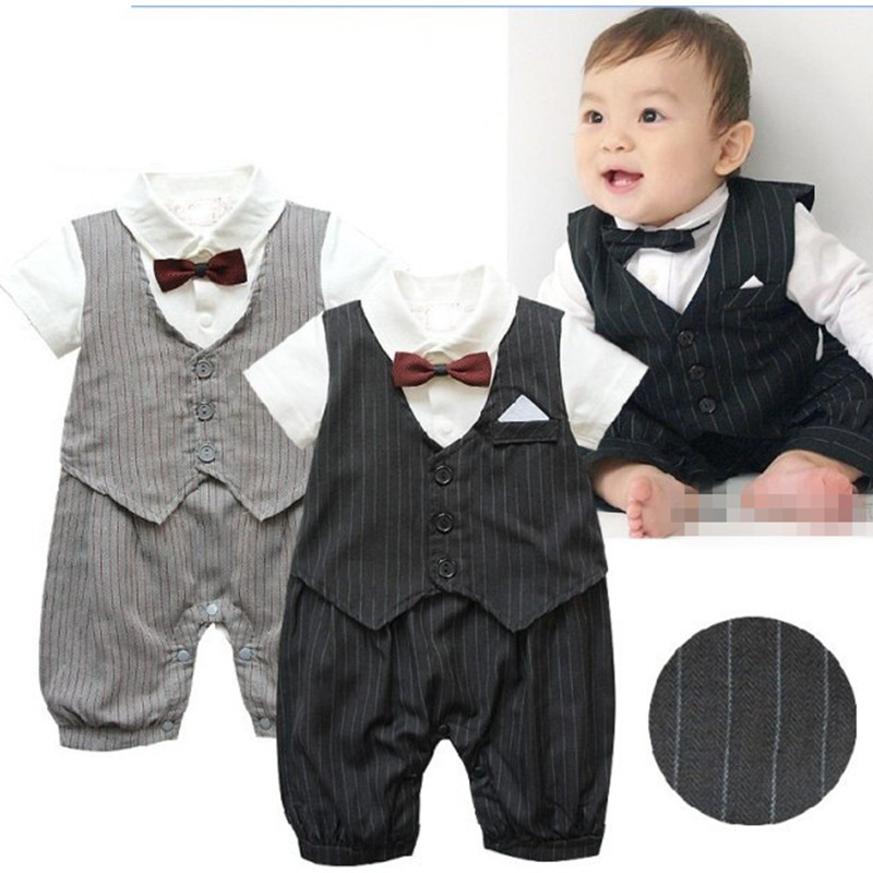 Newborn jumpsuit baby boy clothes gentleman style Kids clothing summer short-sleeved boys clothes bow tie striped infant Rompers gentleman baby boy clothes black coat striped rompers clothing set button necktie suit newborn wedding suits cl0008