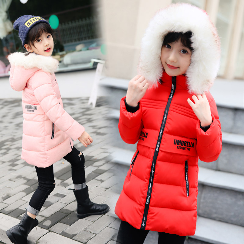 2018 Fur Hood Jacket for Girls outdoor coat Snow Wear Parka Thick Cotton-Padded Winter Jacket for Children Christma Winter Coat angelguard high landscape twins baby stroller can split ultra light umbrella can be two color twins baby stroller