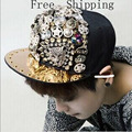 Brand Snapbackcaps Heavy Metal Rivet Diamond Leopard Head Back Hip Hop Baseball Cap NY Cap 5 Panel Hat Gorras Mujer Casquette
