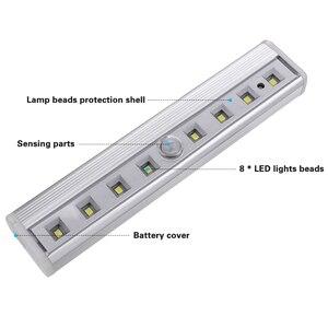Image 2 - Coquimbo luz con Sensor de movimiento, 8 LED, funciona con pilas, móvil sin cables, imán portátil, luces nocturnas para armario, pasillo, escalera