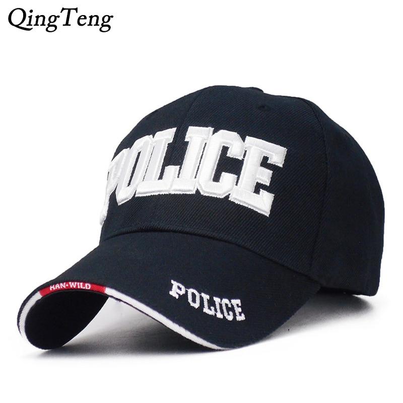 Embroidered POLICE Hats Caps Men Outdoor Sport Tactica Baseball Cap SWAT Army Cap Letter Trucker Gorras Women Snapback Bone