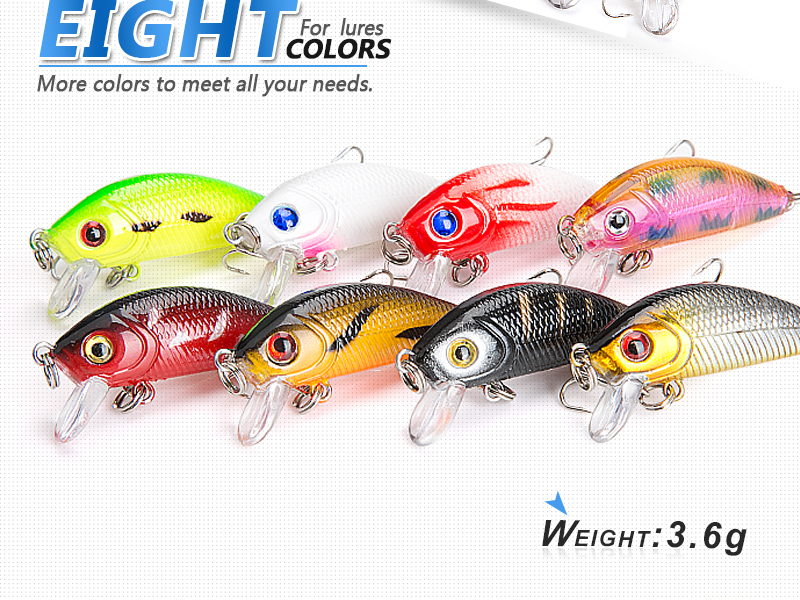 DONQL 8pcslot Minnow Wobblers Crankbait Fishing Lure 5cm 3.6g Artificial Swim Hard Bait Fishing Lures With Sharp Hooks Pesca (2)