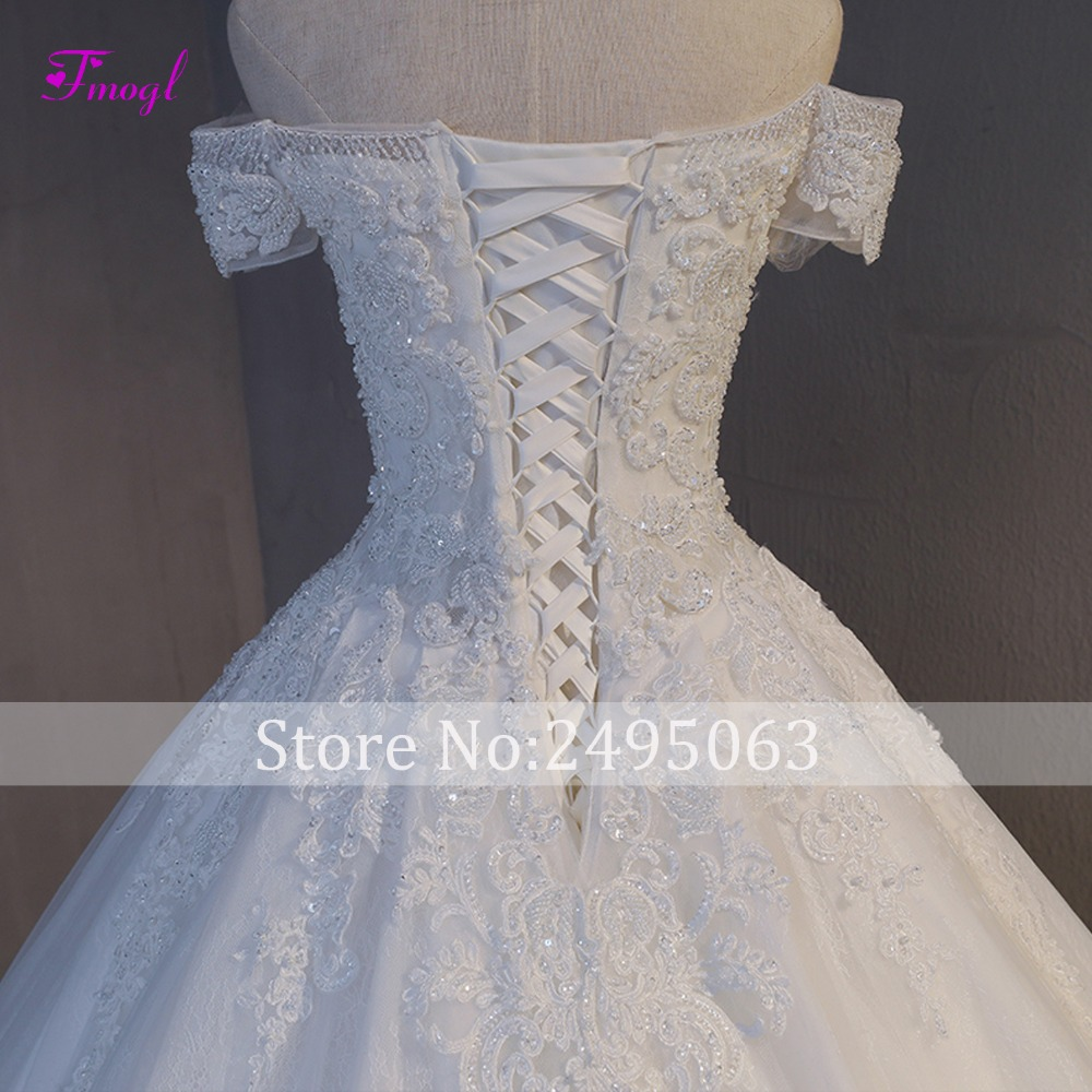 Image 5 - Fmogl Vestido de Noiva Appliques Chapel Train A Line Wedding Dresses 2019 Delicate Beaded Boat Neck Lace Up Princess Bridal Gown-in Wedding Dresses from Weddings & Events