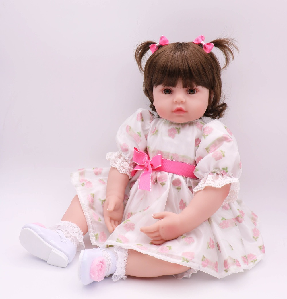 Reborn Realistic girl Baby Doll long Hair bebe princess reborn Soft Silicone 24inch 60cm Lifelike Newborn Doll kids XMAS GiftReborn Realistic girl Baby Doll long Hair bebe princess reborn Soft Silicone 24inch 60cm Lifelike Newborn Doll kids XMAS Gift