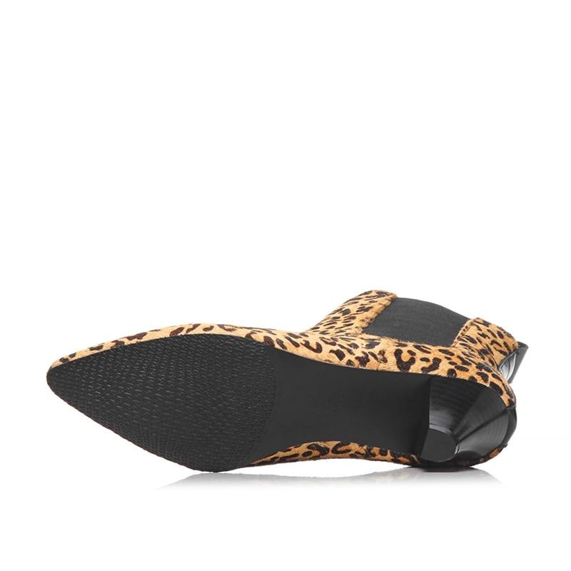 Mujeres Borla Diseño Grueso Natural Estiramiento Del Tobillo Marca De 2018 Bolso Mujer Cr1724 Zapatos Dedo Las Remache Puntiagudo Tacón Enmayer Botas Cuero Pie leopard Black qxXwOp1E1