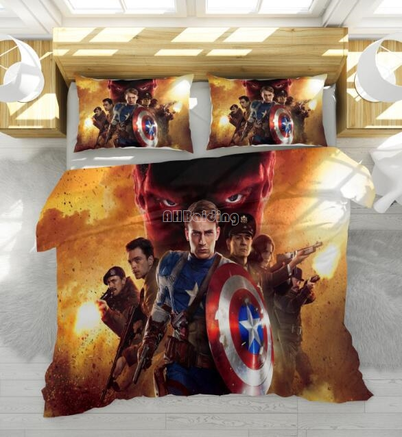 Captain America Cartoon Bedding Set The Avengers Character Printed Duvet Cover Set with Pillowcase Au Us Eu Twin Full Queen Size|Bedding Sets| |  - title=