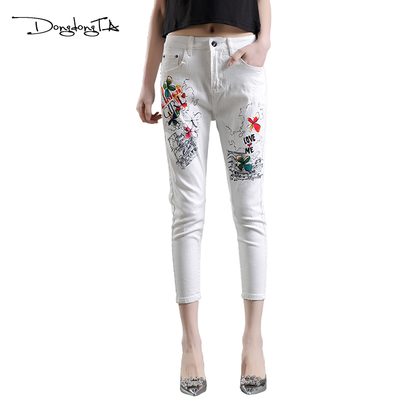 Dongdongta Ženy Křížové kalhoty 2017 Nový originální design Střední pás Malované Umyté Vzor Móda Léto Dívky Žena Bavlněné džíny