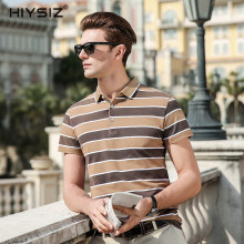 HIYSIZ New HOT Cotton Tshirts 2019 Streetwear White Striped Casual Turn-down Collar T-Shirt Mens Short Sleeve Men ST008
