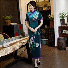 цена на NEW Female Velvet Long Sheath Cheongsam Print Floral Elegant Stage Show Qipao Vestidos Plus Size M-XXXL Chinese Style Dress