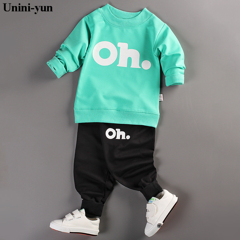 new autumn Children baby boys girls clothing sets tracksuit 2PCS cotton sport suit cartoon t-shirt+pants kids clothes sets boys clothing sets 2018 new summer baby boys clothes popular black white letter t shirt plaid pants sets kids clothing sets 3 7y