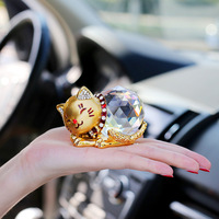 Bling car accessories simulation crystal creative diamond gold and silver 2 colors auto dashboard doll lucky cat car ornaments
