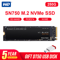 Western Digital WD BLACK SSD SN750 250GB 500GB 1TB NVMe Internal Gaming SSD-Gen3 PCIe, M.2 2280, 3D NAND for Gaming PC Laptop Internal Solid State Drives