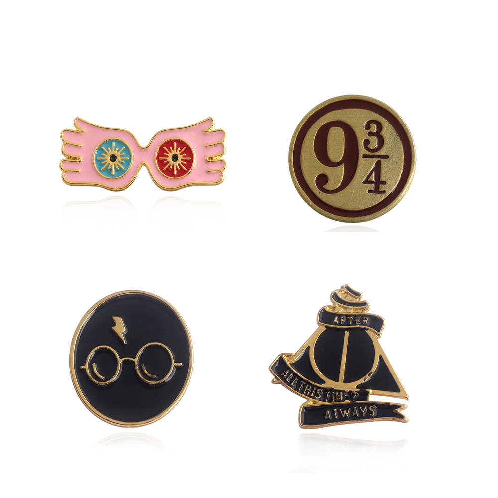 10pcs/lot New Movie HP Badge Brooches Pins Hogwarts 9 3/4 Luna Lovegood Glasses Enamel pin For Women Kids Jewelry Cosplay Gift