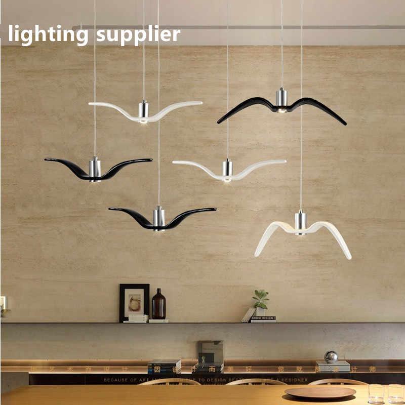 Креативный Белый светодиодный подвесной светильник из смолы с изображением птиц