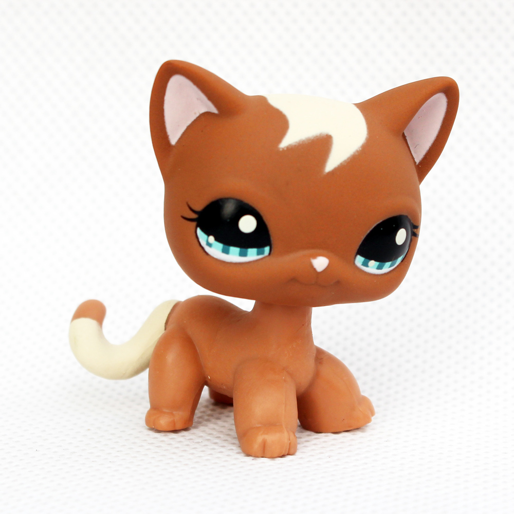 Rare Original Pet Shop Toys Short Hair Cat #1170 Brown Animal Standing Kitten With White Hair Anime Toys Gift For Kids