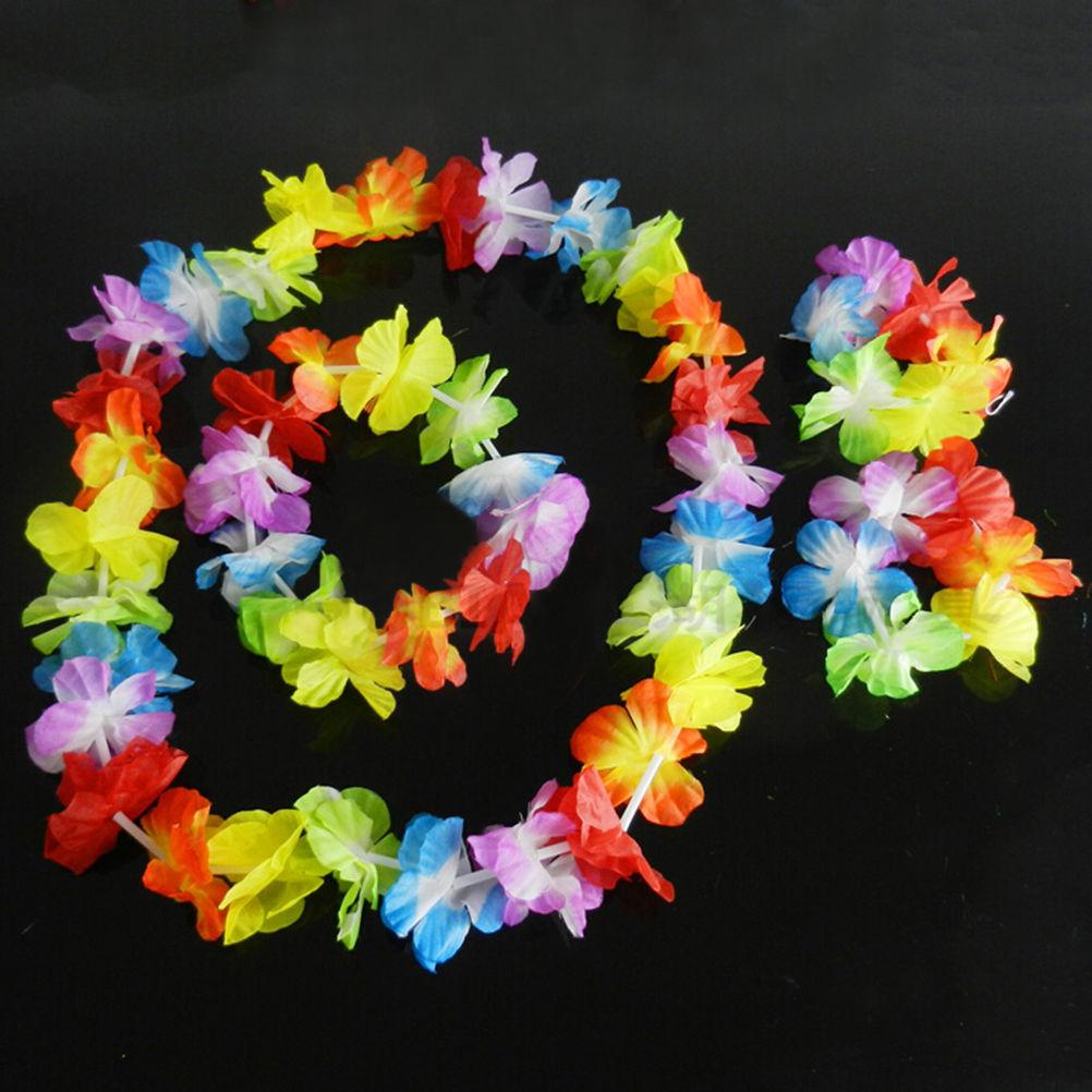 4 Pcs/set Cheerleading Souvenirs Hawaiian Tropical Hula Luau Grass Dance Head Neck Wrist Garland Christmas Decor