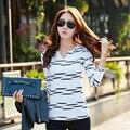 Camiseta de Manga longa Mulheres de Slim Listrado T-Shirt Com Decote Em V Camiseta Poleras de Mujer Moda de Algodão mulheres 2016 Plus Size Coreano roupas