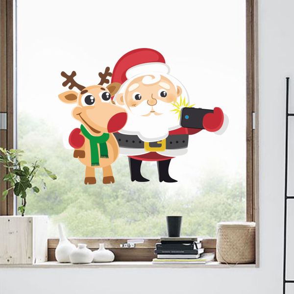 Santa claus by deer christmas illustration wall stickers window sticker nursery decoration kids room vinyl art home decor in wall stickers from home