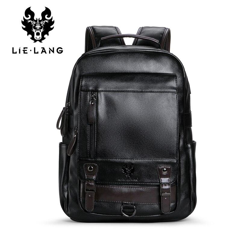2018 New Arrival Backpack PU Leather Male Multifunction bag Waterproof Black Backpack Men School Bags Laptop